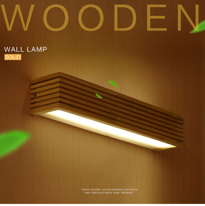 Modern Japanese Style Rectangle Acrylic Cover LED Solid Oak Wood Wall Sconce Wooden Wall Lamp for Living Room Light Fixture цена 2017