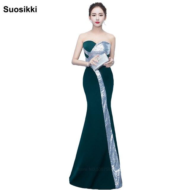12633efd0 Suosikki 2017 New design Strapless Sequined mermaid Long Evening Dresses  vestidos de noche Green & Silver