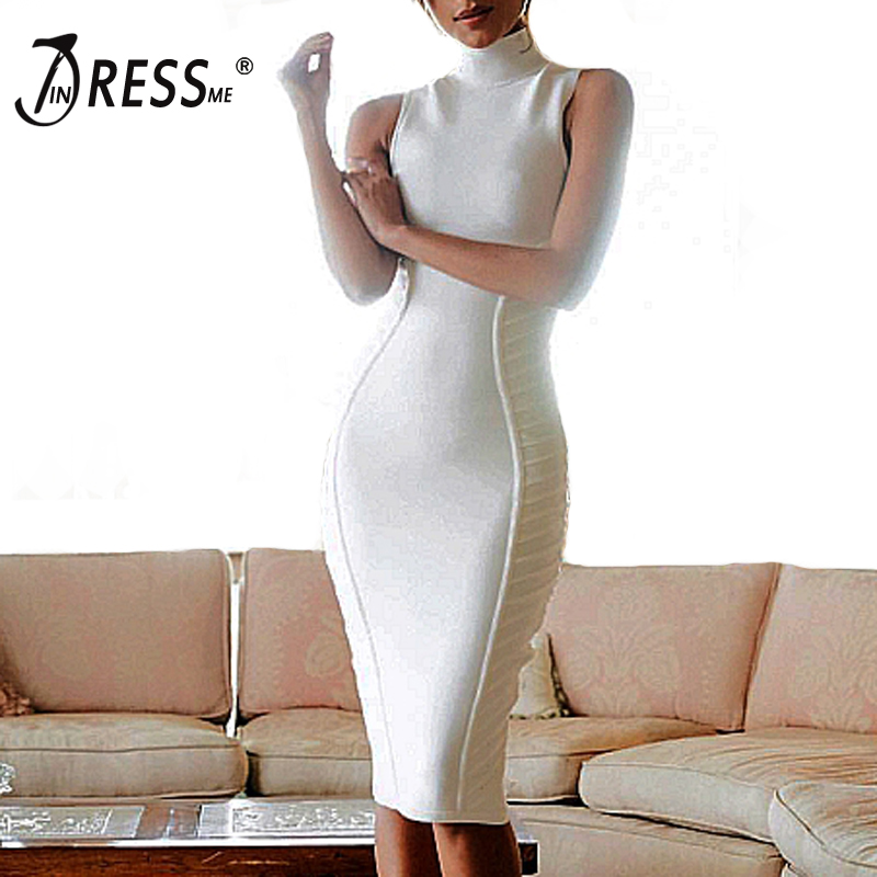 INDRESSME 2017 New White Black Striped Sleeveless Bandage Dress Women Sheath Knee-Length Party Dresses цена