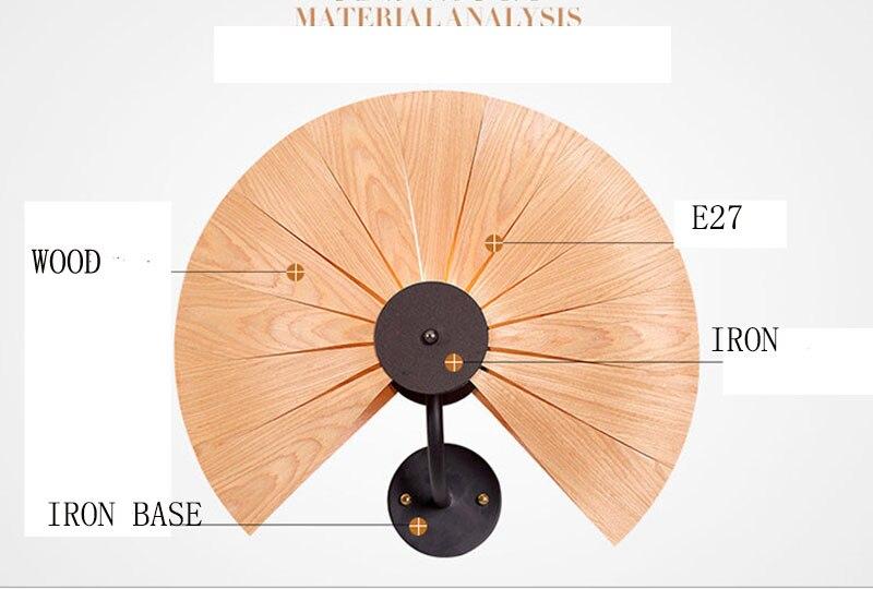 In legno naturale per il ventilatore/cuore di amore ombra lampada da parete montato con metallo, ferro, nuova decorazione souutheast stile per il caffè negozio di barshop - 4