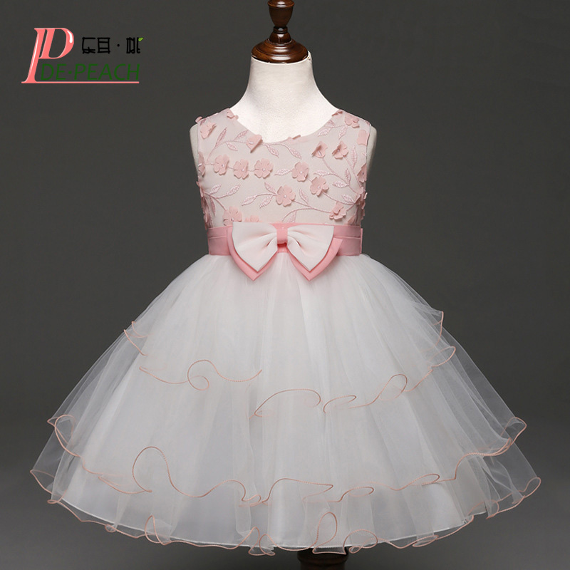 Cute Bow Baby Girls Dress Summer Flower Kids Lace tutu Wedding Party Vestido Princess Dress Baby Girls Clothes Children Clothing 2016 new summer girls kids rose flower princess sleeveless party elegant tutu lace dress cute baby clothes children clothing