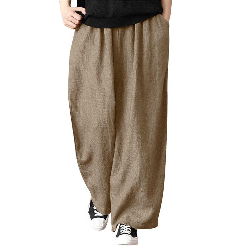 Solid   Pants   Women Plus Size Casual   Wide     Leg     Pants   Flax Cotton And Linen Trousers For Women Pantalon Mujer Wholesales 40SR7