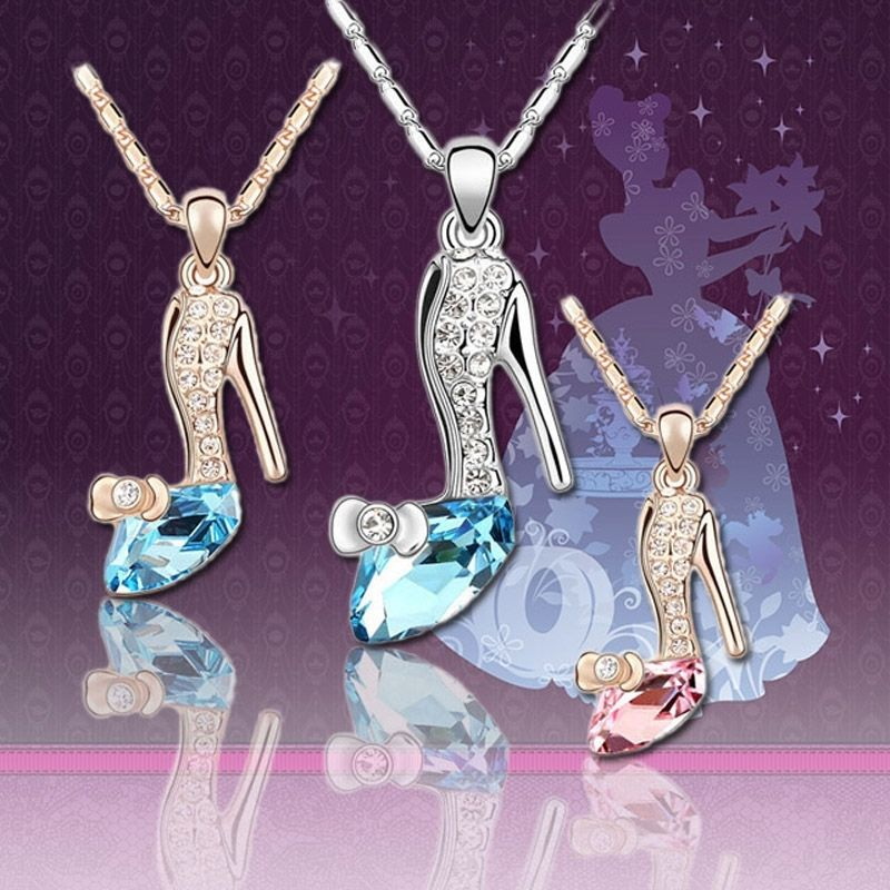 Magic Crystals Rhinetone Shoes Stunning Pendants Necklace Chain Gift Fashion Jewelry Movie Stylish Silver Plated