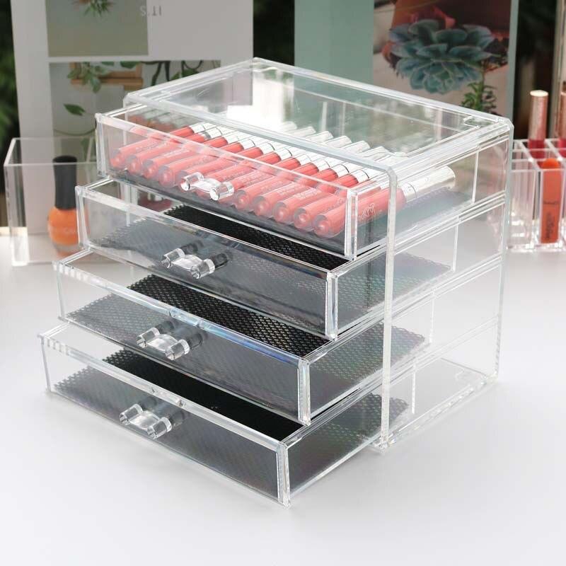 Acrylique transparent maquillage organisateur boîtes de rangement maquillage organisateur pour cosmétiques brosse organisateur maison rangement tiroir ensemble