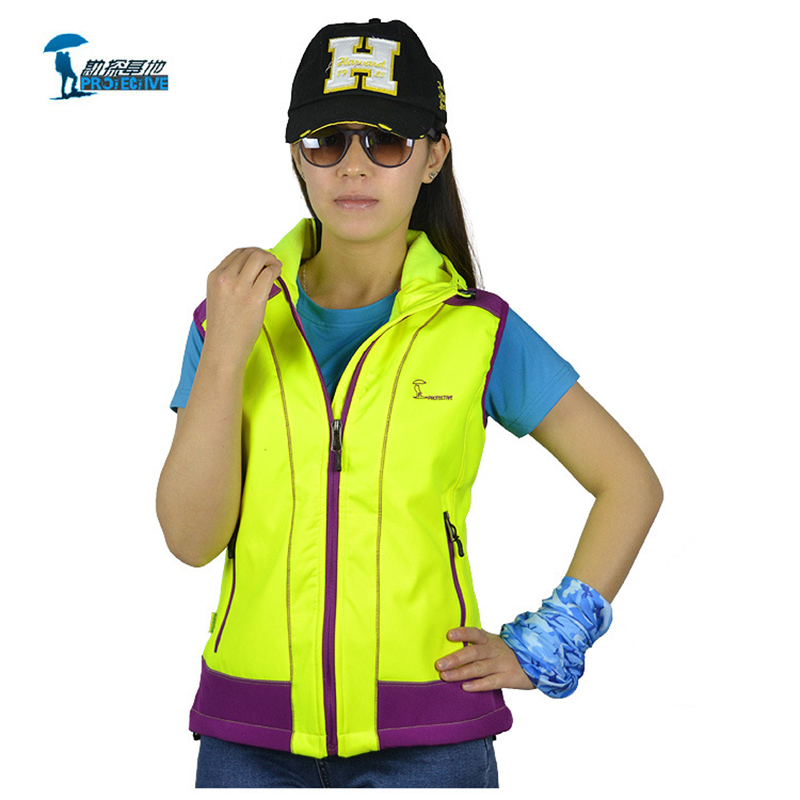 ФОТО Protective 2016 New Arrival Autumn Winter Hooded Hiking Vest Women Leisure Fleece Colete Feminino For Outdoor Thermal Windproof
