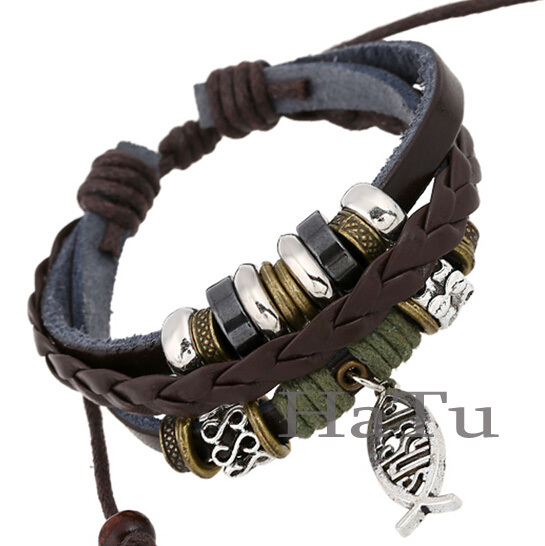 Leather Bracelet New Style Fish Bracelets Handmade Surfer Bangle Jewelry Men Pulseiras In Charm From