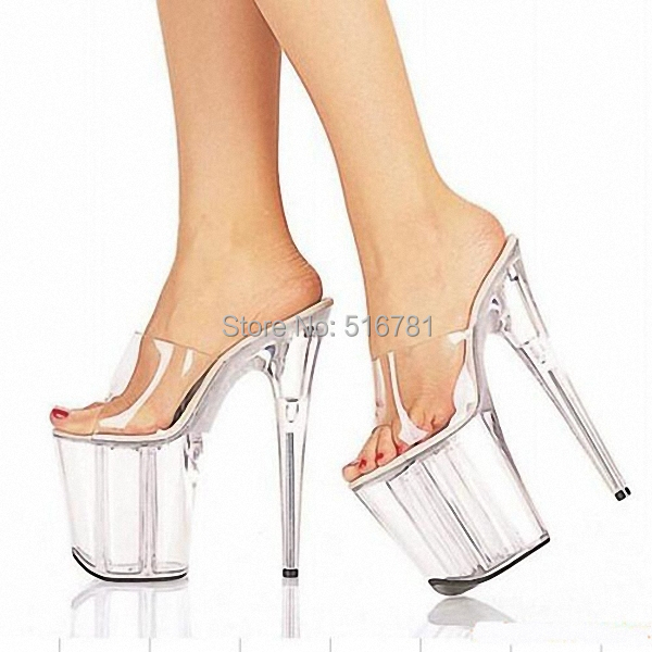 8a8f418135 US $78.89  8 Inch Clear High Heel Sandals Gorgeous Crystal Slippers Low  Price 20cm Platform Women's Shoes Club Heels For Ladies Casual Shoe-in  Women's ...
