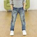Высокое качество 2017 printemps et enfants осеннем pantalons Стрейч джокер джинсы детей джинсы горячей продажи