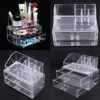 Excellent Cosmetic Organizer Two Layer Drawers Acrilico Desk Organizer Acrylic Makeup Organizer Storage Box Rangement Maquillage