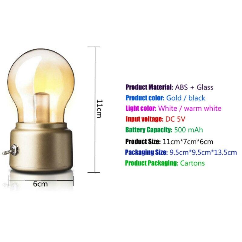 Luzes da Noite 5 v bateria recarregável humor Color : Gold / Black