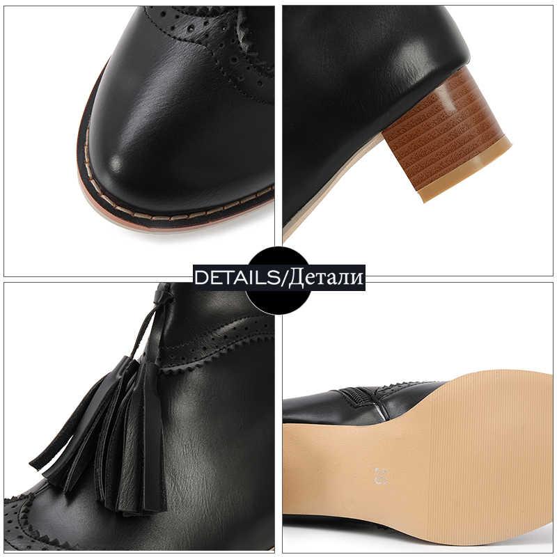 WETKISS Ahşap Med Topuklu Kadın bileğe kadar bot Kalın Peluş Yuvarlak Ayak Pu Püskül Ayakkabı Zip Kadın Bot Ayakkabı Kadın 2018 Kış siyah