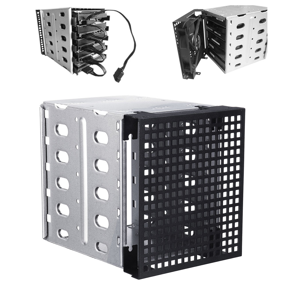 5.25inch to 5x 3.5inch SATA SAS HDD Cage Rack Hard Driver Tray Caddy with Fan Space 5 25 to 3 5 sata sas hdd hard drive cage adapter tray caddy rack bracket for 3x 5 25 cd rom slot internal or external pc diy