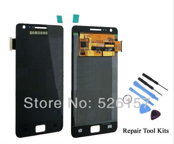 Free Repair Tool Kits Original New For Samsung i9100 Galaxy S2 LCD with Touch Screen Digitizer Assembly -Black Free shipping
