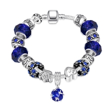 2016 Trendy New Elegant and generous Colorful Blue glass beads Silver Plated Bracelets&Bangles Jewelry Antique for Gift Pulseras