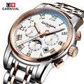 Carnaval reloj de Marcas de lujo de los hombres de zafiro de Oro máquina Automática de acero inoxidable Relojes a prueba de agua reloj relogio masculino