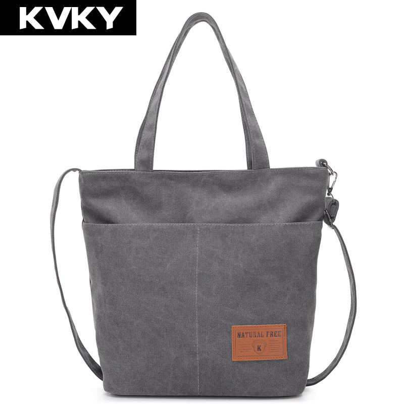 KVKY Vintage Female handbag women large thicken canvas casual tote messenger bag