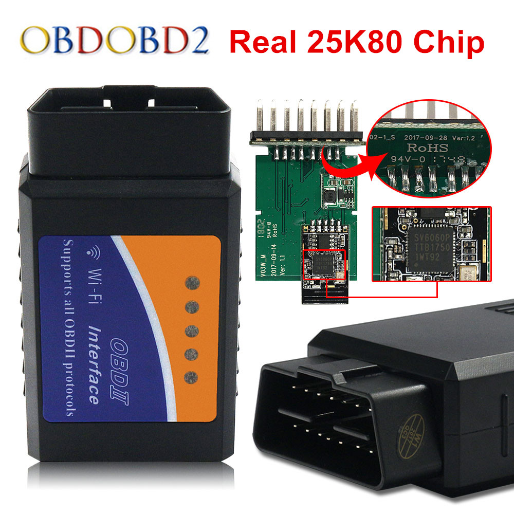 Real 25K80 ELM327 MHZ <font><b>WIFI</b></font>/<font><b>Bluetooth</b></font>/USB <font><b>V1.5</b></font> <font><b>ELM</b></font> <font><b>327</b></font> For Android Torque/PC Support All OBDII Protocols 12 Languages Free Ship image