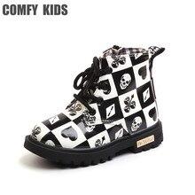 цена COMFY KIDS Boys Boots Shoes Pu Leather  Girls Martin Boots Fashion Lattice Waterproof Child Rubber Boots Kids Snow Boots Shoes онлайн в 2017 году