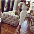 Sexy Satin Ruffle One Shoulder Straight White Prom Dresses Long 2017 Lily Collins Special Occasion Dress Zipper-Up Tea Length