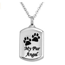 Pet Paw Print 'My Fur Angel' Stainless Steel Square Urn Pendant Memorial Ash Keepsake Cremation Jewelry luxury high quality stainless steel elegant angel cremation urns human pet memorial keepsake urn jewelry