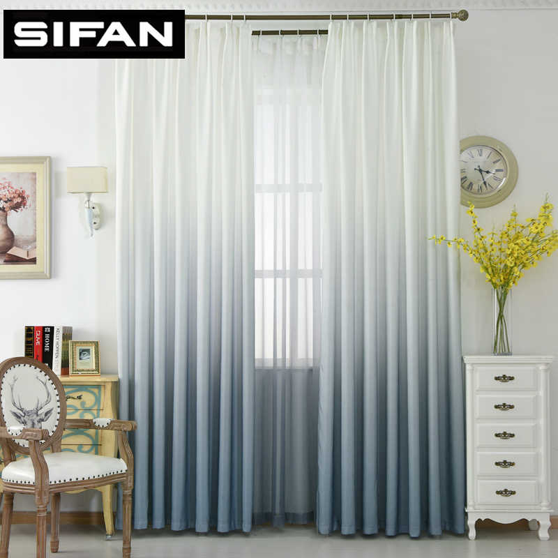 3d Printed Gradient Color Window Curtains for Bedroom Living Room Kitchen Tulle Curtain Fabric Treatments Insulation