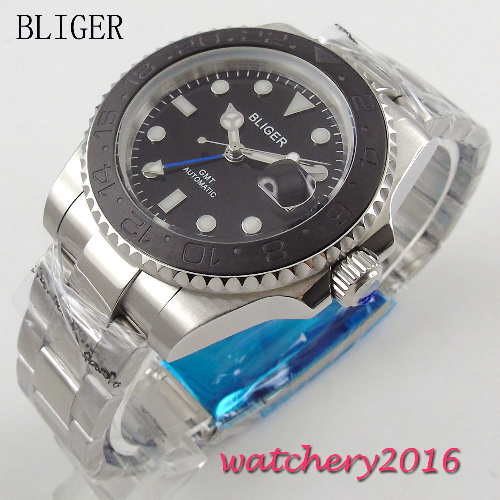 40mm Bliger Black Dial Ceramic bezel Sapphire Crystal Round GMT Automatic Movement Men's Mechanical Wristwatches 44mm bliger gray dial blue ceramic bezel sapphire crystal automatic movement men s mechanical wristwatches