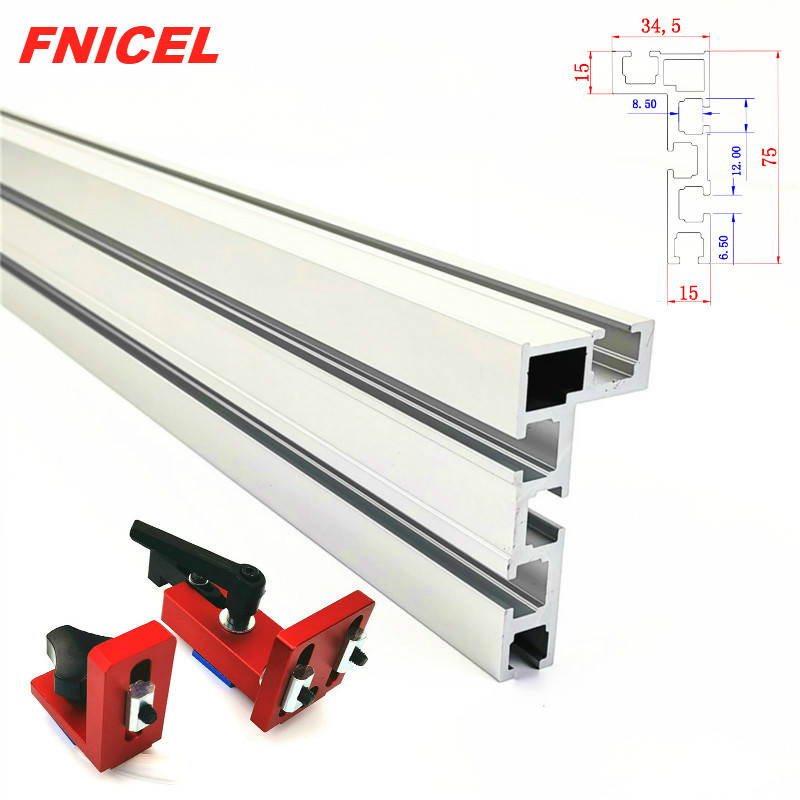 600mm/800mm Aluminium Profile Fence 75mm Height With T-tracks And Sliding Brackets Miter Gauge Fence Connector For Woodworking(China)
