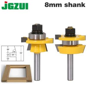 Image 1 - 2 PC 8mm Shank Đường Sắt & Stile Router Bit Set Shaker cửa dao Chế Biến Gỗ cắt Mộng Cutter cho chế biến gỗ Công Cụ