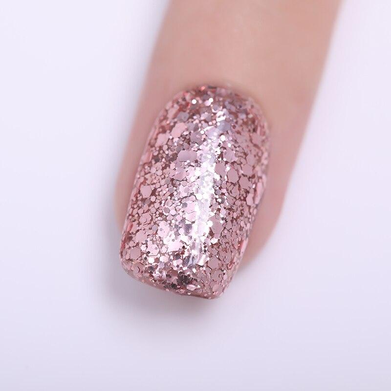 BORN PRETTY Nude Rose Gold Soak Off UV Gel Glitter Nail Art Gel Polish  Colorful 6d54ea29b17f