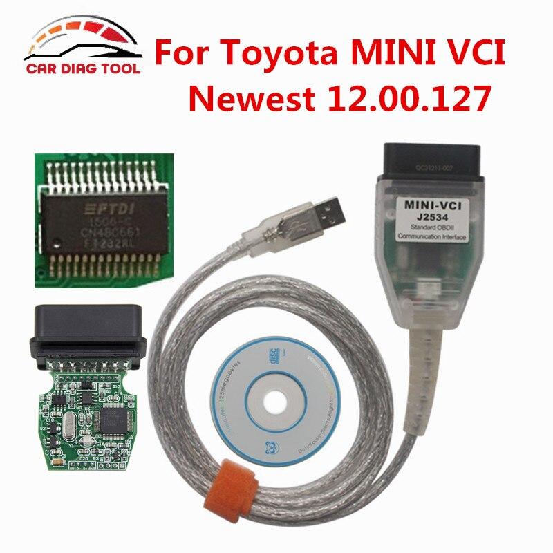 Prix pour Nouvellement Arrivée V12.00.127 Mini VCI J2534 TIS Techstream Avec Le Meilleur Qualité FTDI232RL Puce MINI VCI TIS Techstream OBD2 Interface