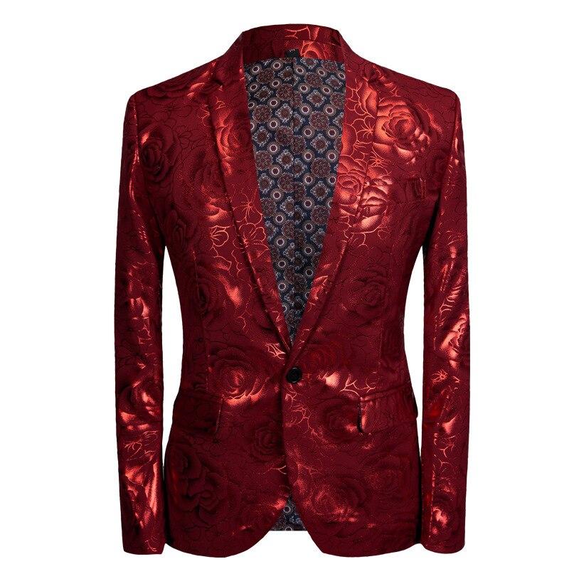 Rode Bloemen Bronzing 2 stuk Pakken Met Broek 2018 Brand Nieuwe Single Breasted Tuxedo Suit Mannen Wedding Party Stage Kostuum homme-in Pakken van Mannenkleding op  Groep 2