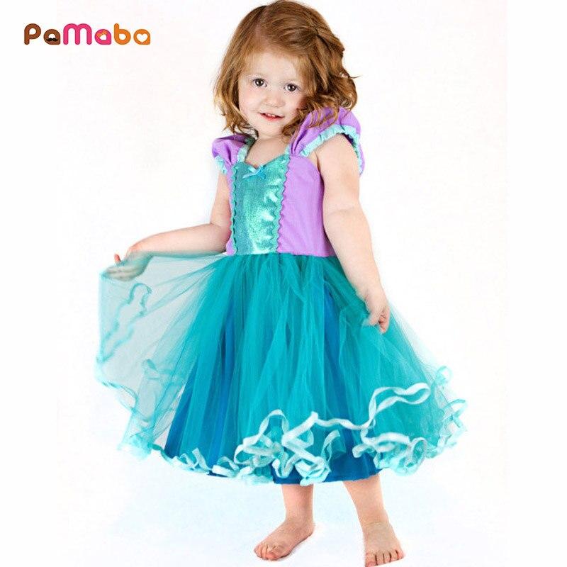 082de9f431b PaMaBa для маленьких девочек принцесса Русалка Рапунцель Аврора Золушка  платья вечерние бальное платье дети день рождения