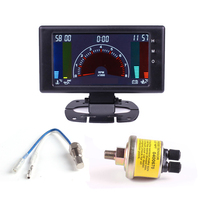"5"" 6 in 1 multiple function car gauge LCD Digital water temp oil temp tachometer RPM volts clock Auto meter Volt Meters    -"