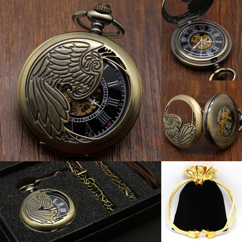 Vintage Bronze Phoenix Necklace Pendant Hollow Steampunk Nurse Automatic Mechanical Hand Winding Pocket Watch Best Gift Sets hot trendy vintage bronze men rabbit best gift women retro pendant pocket watch alice in wonderland drink me tag necklace chain