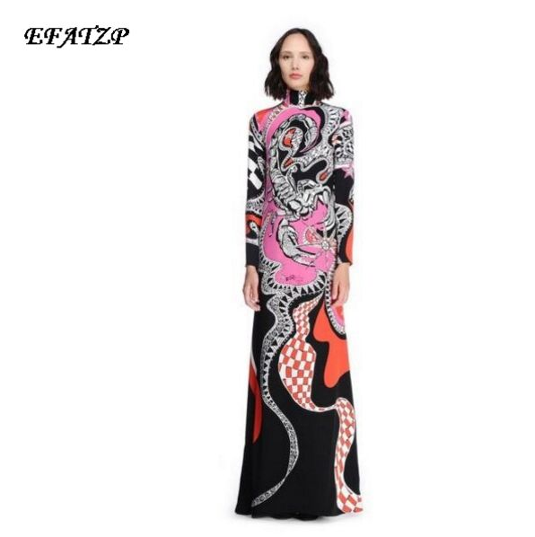 2017 Autumn Luxury Brands Jersey Silk Long Dress Women s Vintage Baroque Print Bodycon Spandex Stretchable