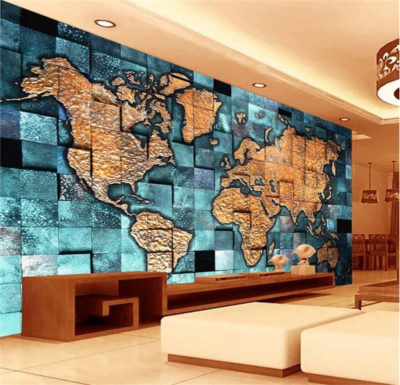 Custom 3d mural wallpaper Non-Woven wallpaper 3D relief map of the world Living room TV backwall bedding room 3d photo wallpaper map of fates