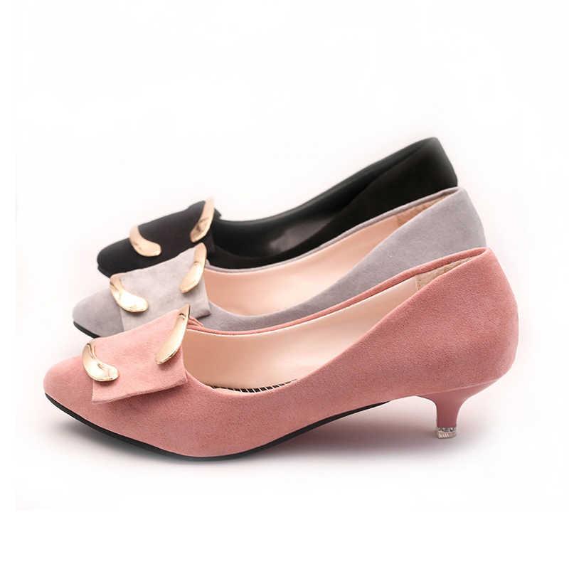 Vrouwen Kleding Schoenen Lage Hakken OL Office Lady Schoenen Puntschoen Pompen Faux Suede Dunne Hakken Dames Schoenen zapatos de mujer WSH3193