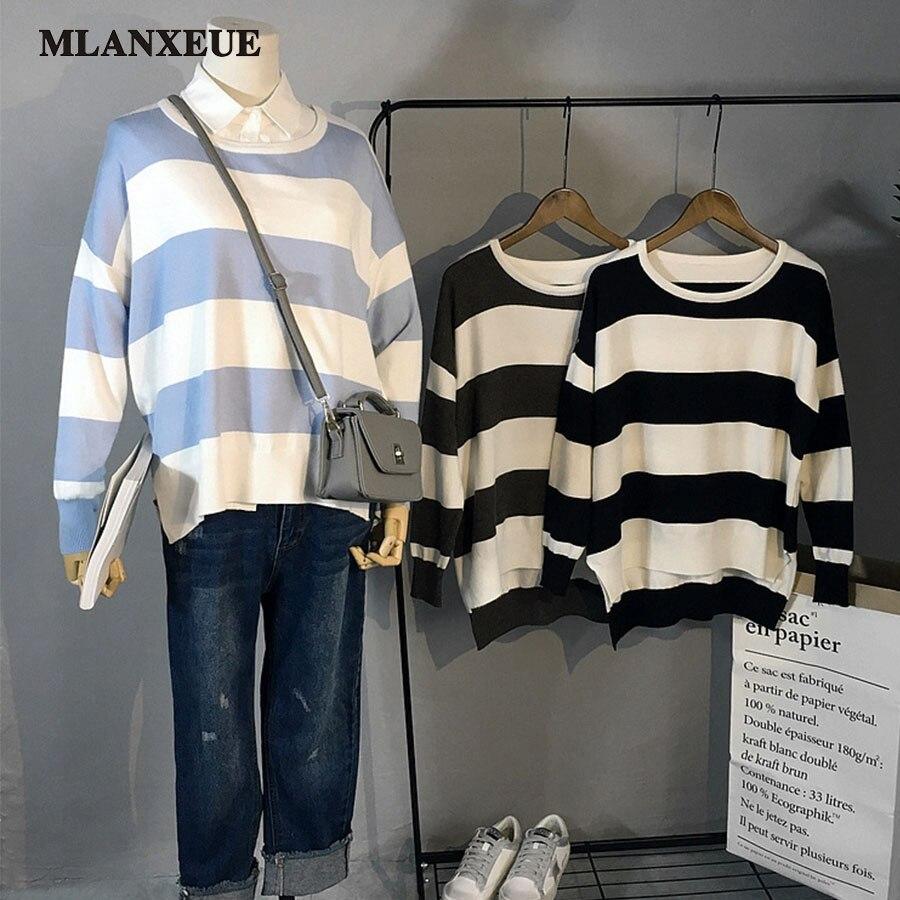 2017 New Sweater Casual Stripes Design Knitted Sweaters Women Fashion Long Sleeves Asymmetrical Hem Loose Sweater Women