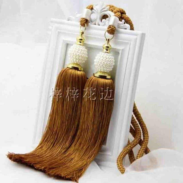 Curtain Tassels Tiebacks Pendant Accessories Holder For Curtains Pearl Double Ball Window Buckle Hooks