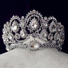 Tiara nupcial de lujo corona de cristal de Reina accesorios para el cabello de boda diadema concurso adornos de cabello tocado