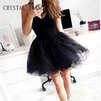 CRYSTAL JIANG Black Homecoming Dress Vestidos de festa curto A Line Tulle Graduation Dress Vestidos cortos Cheap Gowns
