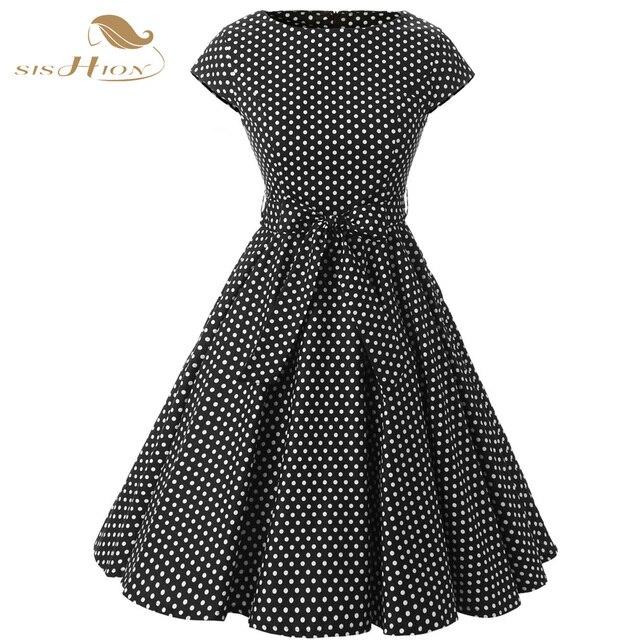 370a294d14 SISHION femmes été noir robes de soirée rétro Rockabilly grande balançoire  taille à pois 50 s Vintage robe tunique VD0230