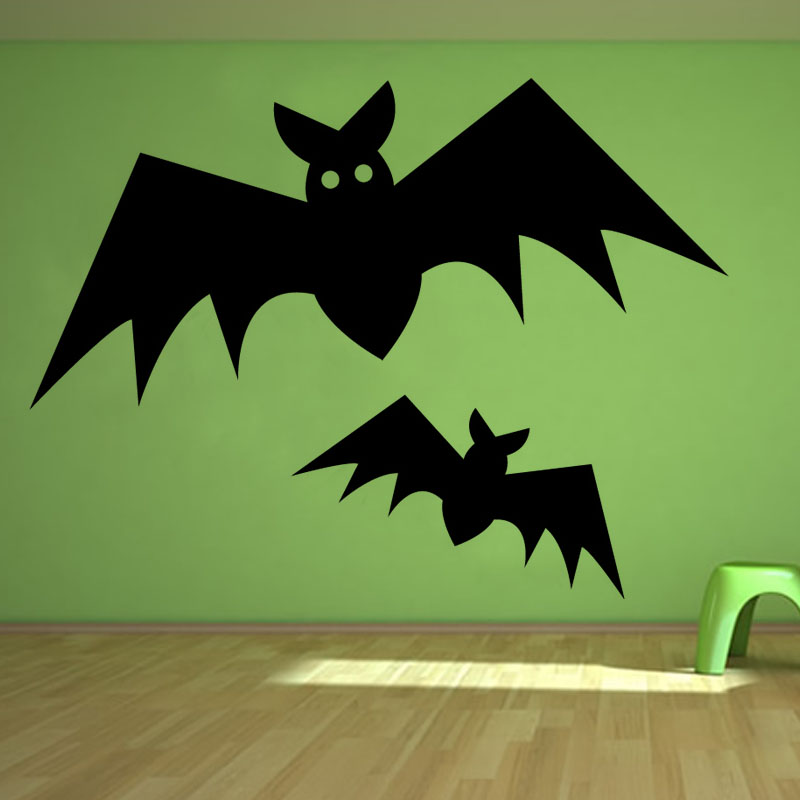 halloween wall decor two bats wall sticker living room removable diy home decorative vinyl wall decals - Halloween Wall Decorations