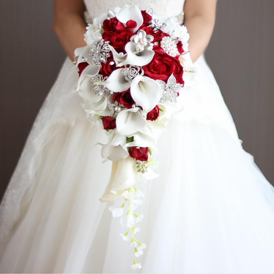 2018 nouvelle cascade rouge blanc fleurs De Mariage Bouquets De mariée perles artificielles cristal Mariage Bouquets Bouquet De Mariage Rose
