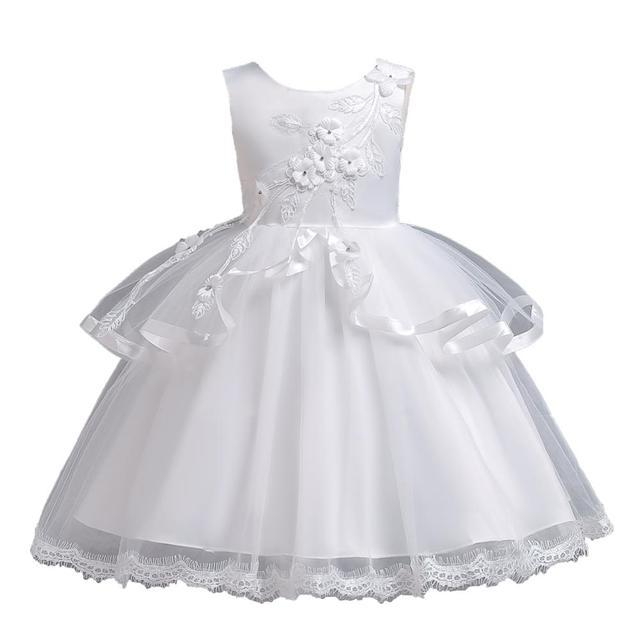 51544bf5a Nueva llegada encantadora Appliques rebordeado flor chica vestidos niños de  noche para la boda primera comunión vestido infantil