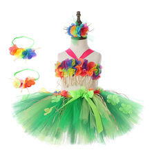 Hawaii Green Flower Fringes Tulle Skirt Girls Solid Mini for Princess Tassel Party Baby Photography Costumes