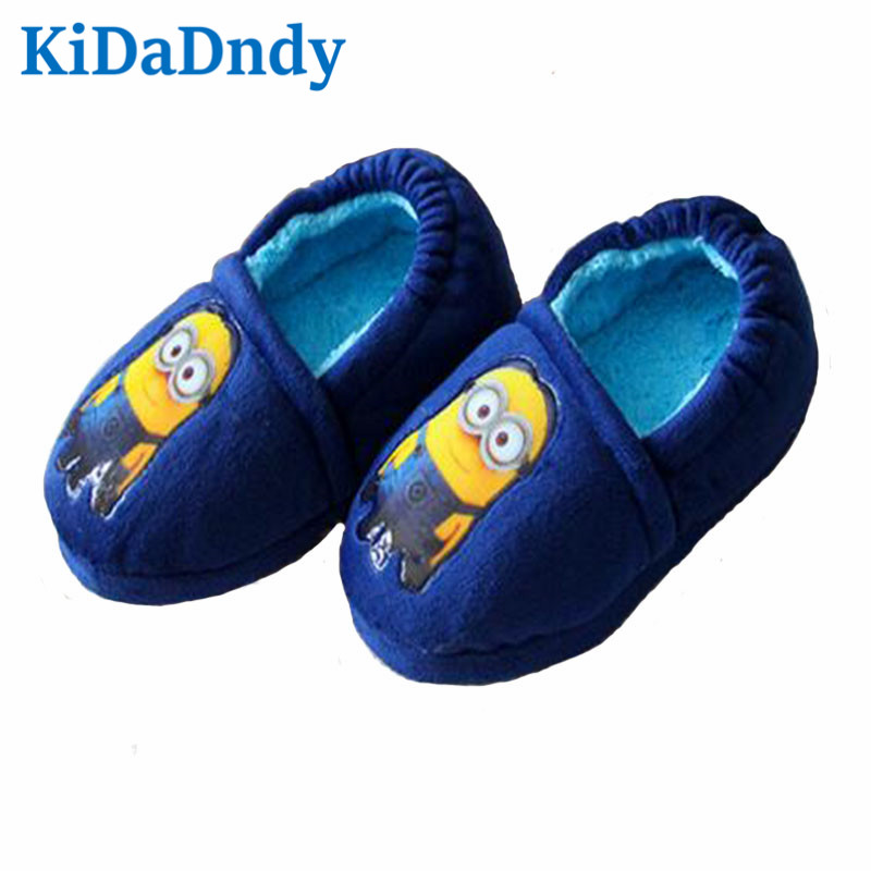 KiDaDndy Cotton Slippers Winter Slippers 2016 New Winter Minions Child Household Shoe Bag Minions Warm Shoes TCCS60891R