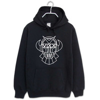 Kpop Vixx Fans Supportive Black Pullover Hoodie For Men Women Robot Printed Tracksuits Plus Size Casual
