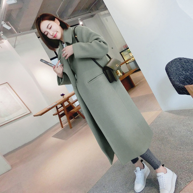 Autumn and Winter New Women's Korean Slim Was Thin Woolen Coat Pure Color Long sleeved Temperament Long Section Casual Jacket