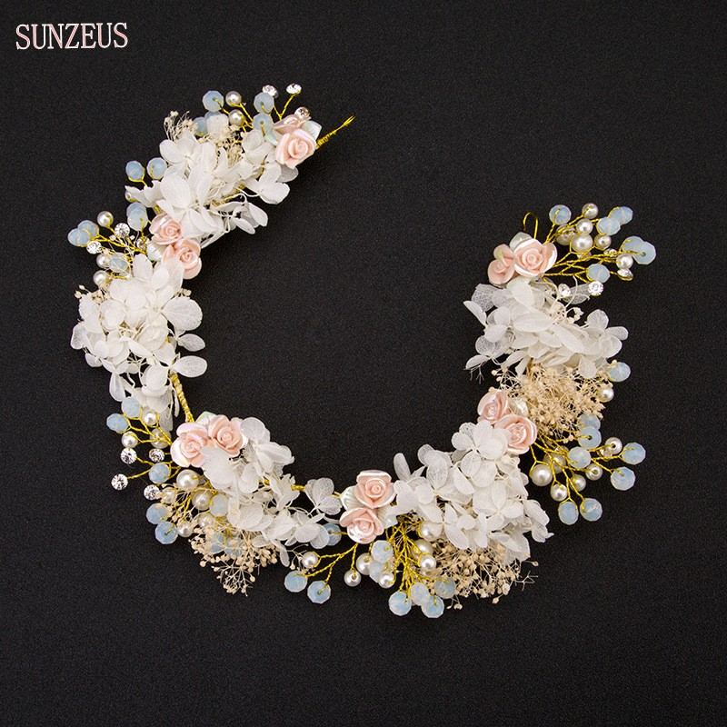 New Design Bridal Headband Pearls Flowers Hand-made Hair Flower Wedding Bruiloft Haaraccessoires Free Shipping SQ129